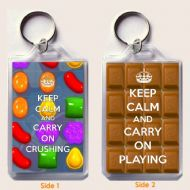 KEEP CALM AND CARRY ON CRUSHING Keyring, a unique gift idea for a Candy Crush Saga Fan